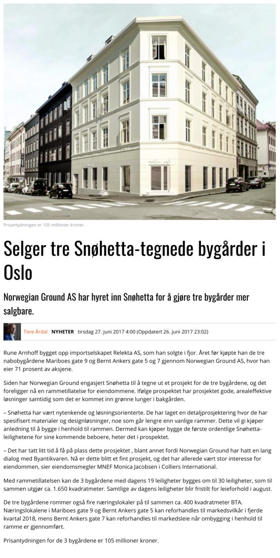 Selger tre Snøhetta-tegnede bygårder i Oslo