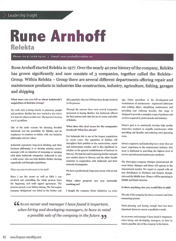 Finance Monthly sin august-utgivelse med intervju av CEO (daglig leder) Rune Arnhoff fra Relekta